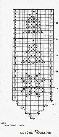A thousand ideas for Christmas: A beautiful Sosyal bow - Work outfits women Filet Crochet Charts, Crochet Motifs, Afghan Crochet Patterns, Weaving Patterns, Crochet Doilies, Xmas Cross Stitch, Cross Stitch Bookmarks, Cross Stitching, Cross Stitch Embroidery