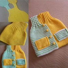 One-Piece Knitted Kids Vest - Baby Kids Vests - Knitting 2019 - 2020 Knitting For Kids, Baby Knitting Patterns, Crochet For Kids, Knitting Designs, Baby Patterns, Knit Crochet, Baby Vest, Baby Cardigan, Kids Vest