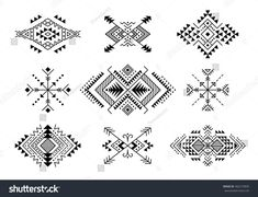 Set Aztec Style Ornaments Arrows American Stock Vector (Royalty Free) 482219830 Native American Patterns, Native American Images, Pattern Art, Pattern Design, American Stock, Arte Tribal, Chicano Art, Tribal Patterns, Abstract Images