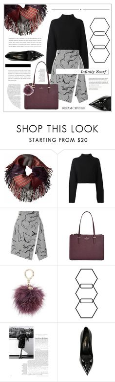 """""""Infinity Scarf"""" by amanda-alyssa-montalvo ❤ liked on Polyvore featuring DKNY, Kate Spade, Whiteley, White Label and Yves Saint Laurent"""