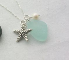 Scottish Sea Glass and Sterling Silver Starfish Necklace - SEA STAR £26.00