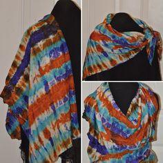 44 x 44 hand dyed silk scarf, shibori dyed Dyed Silk, Shibori, Decorative Items, Plaid Scarf, Handmade Items, My Etsy Shop, How To Make, Shopping, Accessories