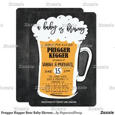 Pregger Kegger Beer Baby Shower Invitation Diaper Party Invitations, Retirement Party Invitations, Couples Shower Invitations, Baby Shower Invitation Cards, Invites, Baby Shower Fun, Girl Shower, Baby Shower Themes, Shower Ideas