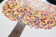 Painted Dot Fall Tree > Jones Design Company  @Brenna Farquharson Cruickshank, idea for Kids Connect?