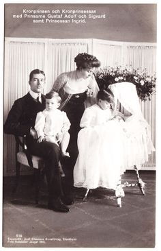Crown Prince Gustaf Adolf of Sweden, his wife Crown Princess Margaret of Connaught, and three of their five children. Princess Margaret was a granddaughter of Queen Victoria. After Margaret's death Prince Gustaf married Lady Louise Mountbatten, a former princess of Battenberg and the aunt of Prince Phillip of Edinburg.