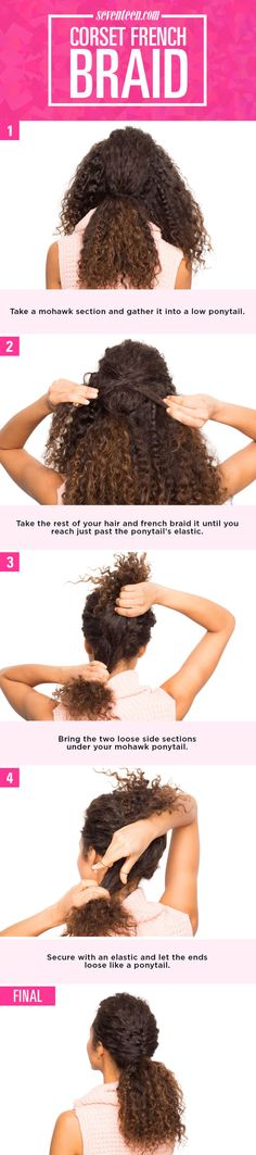 Take a mohawk section and gather it into a low ponytail. Take the rest of your hair and french braid it until you reach just past the ponytail's elastic. Bring the two loose side sections…More Curly Hair Styles, Curly Hair Tips, Wavy Hair, Natural Hair Styles, New Braided Hairstyles, Mixed Hairstyles, 1980s Hairstyles, French Braid Styles, Hairstyle Names