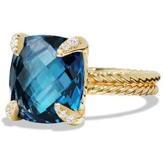 David Yurman Chatelaine Ring with Hampton Blue Topaz and Diamonds in... ($2,920) ❤ liked on Polyvore featuring jewelry, rings, apparel & accessories, hampton blue topaz, blue topaz rings, gold ring, yellow gold diamond rings, 18k diamond ring and diamond rings