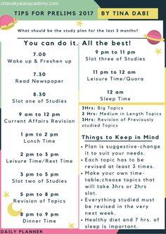 Prepare for Prelims 2018 – Tina Dabi Style Exam Study Tips, Exams Tips, School Study Tips, Study Habits, Study Skills, Study Apps, Study Break, Study Hard, Study Time Table