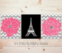 Pink Gray Black Floral Burst Dahlia Wall Art Eiffel Tower Art Print by HollyPopDesigns, $33