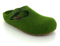 HAFLINGER® Wool Felt Womens Clogs | Grizzly Michele, Grass-Green -normal
