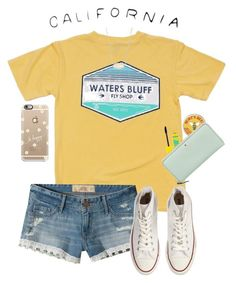 yellow shores by gabyleoni on Polyvore featuring polyvore, fashion, style, Hollister Co., Converse, Kate Spade, Kendra Scott, Casetify, Maybelline and clothing