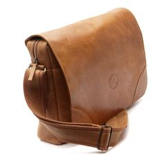 """Golden tan leather messenger for laptops, MacBooks or notebooks up to 16"""". Price: $250. More information: www.dbramante1928...."""