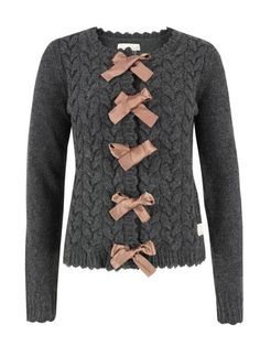 Odd Molly Dark Grey Cardigan with Pink Bow Ties Best Cardigans, Cardigans For Women, Librarian Style, Odd Molly, Cardigan Fashion, Grey Cardigan, Sweater Weather, Refashion, Knitwear
