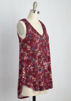 Infinite Options Top in Maroon Meadow. Every fashionista needs pieces in their wardrobe that can be endlessly styled, and this ultra-soft tank promises unlimited options. #red #modcloth
