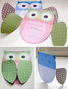 """owl card. I wrote on the wings outside """"Guess whoooo's having a party?"""" and put the party info inside."""