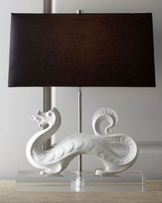 "H6AA1 Jonathan Adler ""White Dragon"" Lamp - I think he looks more like a ""Sea Dragon""!"