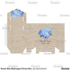 La arpillera azul rústica de la flor del Hydrangea