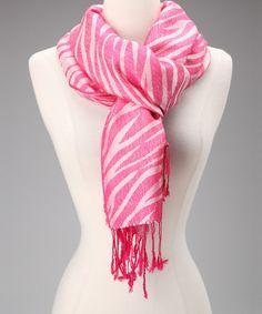 Hot Pink & White Zebra Cashmere Scarf