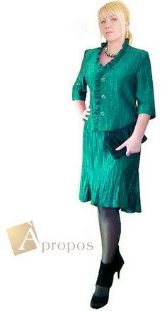 Coctailkleid Abendkleid 2- Teiler Blazer Rock Knielang Taft Grün Apropos