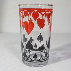 SCHWARTZ MUSTARD POKER CARD SUIT TALL GLASS VINTAGE