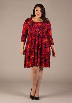 plus-size-fashion isabellaswingdress_red_black_yellow_purple