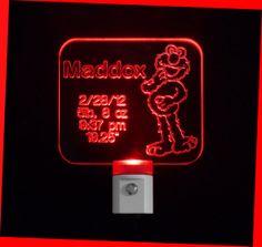 Kids Personalized EElmo Sesame Inspired LED Night Light #personalizedgift #LED