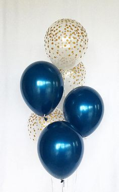 Welcome to Sweet Escapes By Debbie This listing is for 3 navy and 3 clear with gold polka dots 11 latex balloons. ~ Balloons ship flat & deflated ~ The balloons arrive in a flat package they need to be inflated. For helium you can take them to your local party store or