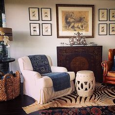 British Colonial style living room with art wall - Lynda Kerry
