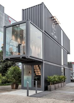 Envelope A+D's Proxy is a vibrant mixed-use village of shipping containers in San Francisco. The most recent occupant is the outdoor-apparel company Aether: its first stand-alone store, housed in a stack of three 40-foot containers. Photography by Mariko Reed.
