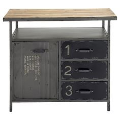 Add industrial appeal to your office, foyer, or living room with this factory-chic console table, showcasing 3 drawers and 1 door.  ...