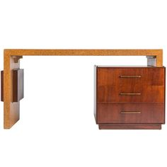 Rare Cork and Mahogany Desk by Paul Frankl for Johnson Furniture Co. Ca.1940's