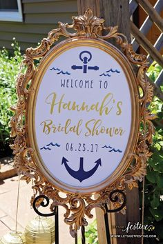 Nautical Bridal Shower Welcome Sign Bridal Shower Decor Let's Get Festive, LLC. - Nautical Bridal Shower Welcome Sign Bridal Shower Decor Let's Get Festive, LLC www. Navy Bridal Shower, Bridal Shower Balloons, Nautical Bridal Showers, Winter Bridal Showers, Disney Bridal Showers, Unique Bridal Shower, Bridal Shower Centerpieces, Nautical Wedding, Nautical Theme