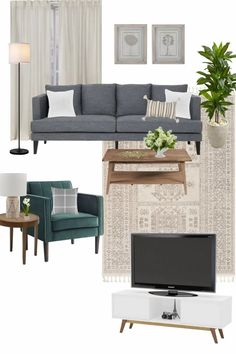 A modern classic living room mood board design using decor and furniture from Walmart for under $2,000. Walmart Home, 3 Living Rooms, Diy Concrete Countertops, Classic Living Room, Affordable Home Decor, Home Decor Items, Outdoor Furniture Sets, Room Ideas, Modern Classic