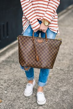 casual stripes, stripes, stripe shirt, distressed denim, blank denim, louis vuitton, casual style, celine sunglasses, gold jewelry, casual outfit,