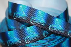 Princess Cinderella 16mm carriage glass slipper grosgrain ribbon in 2 colours