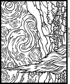 Impressionist Art Stained Glass Coloring Book - Starry Night, VanGogh