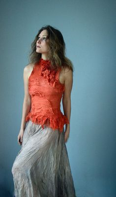 Nuno felted top from natural silk gauze in orange red, finest Australian merino wool (as thin as cashmere). The color has been obtained by natural dyeing