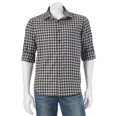 Men's Apt. 9® Modern-Fit Plaid Flannel Button-Down Shirt, Size: