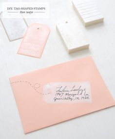 This DIY envelope treatment would be a great way to send a bridal or baby shower invite or a birth announcement