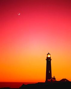 IPortph Structure Lighthouses Sunsets Orange Silhouette. - inkity.com
