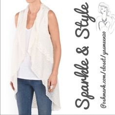 ✨Flyaway vest✨ Ivory light and airy flyaway vest. God quality. •Sleeveless drape front •Crochet seam detail •Polyester/rayon fabric  •Machine wash •Size sm/med Tops
