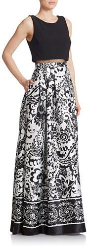Betsy & Adam Mock Two Piece Gown
