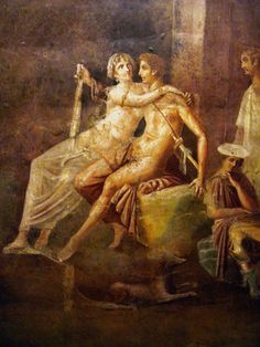 Dido and Aeneas ~ Ancient Roman fresco ~ Pompeii, Italy ~ Dido, the Queen of Carthage and Aeneas who in Greco-Roman mythology, was a Trojan hero, the son of the prince Anchises and the goddess Venus. Ancient Pompeii, Pompeii And Herculaneum, Ancient Art, Carthage, Roman History, Art History, Pompeii Italy, Art Ancien, Roman City