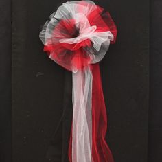 Red Black White Tulle Wedding Pew Bows Church Ceremony Asile Decorations by PackagePerfectBows on Etsy https://www.etsy.com/listing/177780864/red-black-white-tulle-wedding-pew-bows