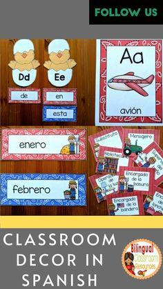 Bilingual Classroom, Classroom Jobs, Classroom Language, Classroom Management, Classroom Decor, Spanish Teacher, Teaching Spanish, Spanish Language, Dual Language