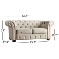 Shop for Knightsbridge Beige Linen Tufted Scroll Arm Chesterfield Loveseat by iNSPIRE Q Artisan. Get free delivery On EVERYTHING* Overstock - Your Online Furniture Store! Diy Furniture Chair, Diy Sofa, Home Decor Furniture, Furniture Deals, Living Room Furniture, Furniture Design, Chesterfield Sofa, Latest Sofa Designs, Wooden Sofa Designs
