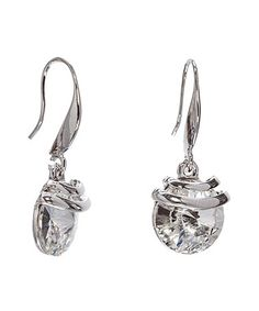 Clear Swarovski® Crystal & Silvertone Drop Earrings #zulily #zulilyfinds