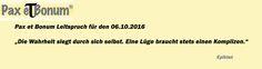 Pax et Bonum Leitspruch für den 06.10.2016