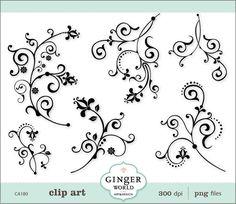 Flower Flourish Swirl Decorative clip art CA180 by GingerWorld, $4.95