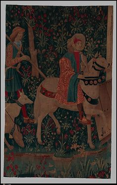 A Hunter Returning to a Castle (From Incidents in a Stag Hunt) Date: ca. 1495–1515 Culture: South Netherlandish Medium: Wool warp, wool wefts Dimensions: Overall: 94 x 60in. (238.8 x 152.4cm) Classification: Textiles-Tapestries